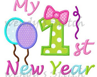 My first 1st New Year applique machine embroidery design