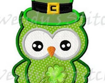 St Patrik's day owl applique machine embroidery design digital pattern