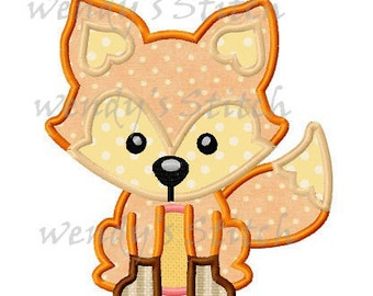 Fox applique machine embroidery digtial pattern