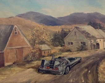 Back to the Future DeLorean Parody Painting, 'Makin' Like a Tree' Limited Edition Print or Poster, Back to the Future Print Delorean Parody
