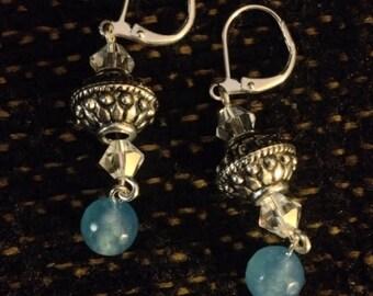 Elegant aquamarine and crystal earrings