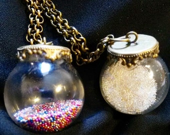 Hundreds & Thousands and Pearly White globe pendant necklace on vintage chain