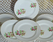 Set of 6 English China Tea Side Plates - Lord Nelson Pottery - Pink Roses and Trellis Fence Panel - 1950s