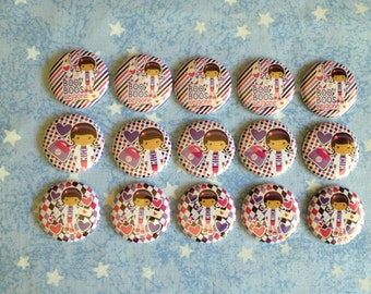 "Purple And Pink Doctor Girl Buttons, Doc Buttons, 1"" Flatback Buttons, 15 Buttons Total"