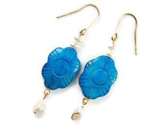 Turquoise Earrings Gold Dangle Earrings Handmade Gemstone Earrings Bohemian Jewelry Beaded Earrings Gift For Mom