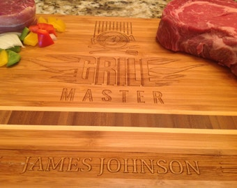 Personalized Grill Master for Fathers Day, Bamboo engraved cutting boards for dad with name Engraved