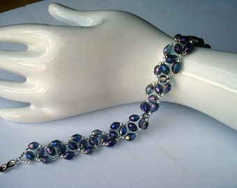 Bracelet of glass beads and crystals