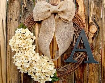 Shabby Chic Wreath - Choose Your Flower Color - Monogrammed Wreath - - Rustic Wreath - Hydrangea Wreath - Door Wreath - Everyday Wreath