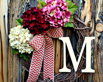 Pink. Red, and Cream Hydrangea Wreath with Chevron Burlap Bow and Monogram - Monogrammed Wreath - Initial Wreath - Door Wreath - Wreaths