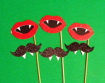 Halloween Photo Booth Props 6pc Glitter Vampire Lips Glitter Vampire Mustache Photobooth Props Halloween Party Decorations Glitter Prop