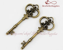 2 PCS, Large Key, Key Charm, Key Pendant with Crown, Victorian Key, Skeleton Key, Vintage, Fittings, Accessories, Jewelry Supplies, 83*33MM