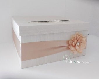 Wedding Gift Card Box / Wedding card box / wedding money box / wedding card holder / 1 Tier card box (Ivory & Champagne)