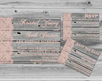 Shabby Chic Wedding - Wedding Invites - Printable wedding invitation - Rustic Wedding Invite - Barnwood DIY