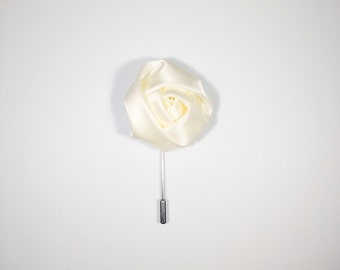 Ivory / Cream Satin Men's Lapel Flower, Wonderful Depth Made In The USA Ideal Gift For Dad Brother Husband