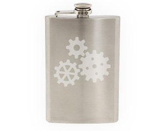 Industry #6 - Gear Mechanical Engineering Construction- Etched 8 Oz Stainless Steel Flask