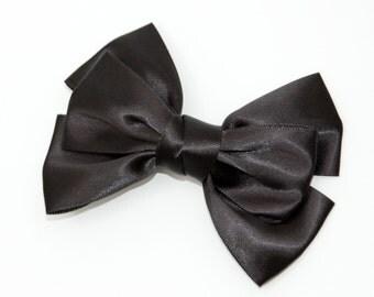 Ribbon bow hair clip - Black