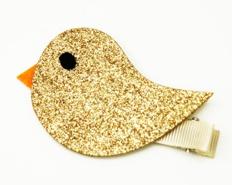 Glitter bird hair clip - Gold