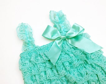 Mint lace ruffle romper - Small