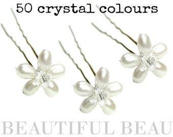 Pearl Hair Pins, Pearl Hair Grips, Pearl Bridal Wedding Hair Accessory, Bridesmaid Hair Accessory, Floral Flower Hair Pin - JESSICA CRYSTAL