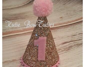 Mini Glittery Birthday Girl Party Hat   Birthday   Cake Smash   1st Birthday   Baby Birthday   Pink and Gold   Ready to Ship