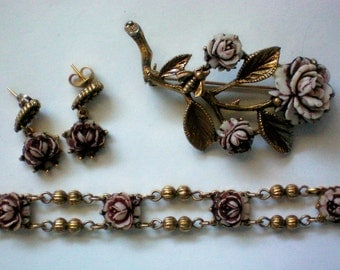 Cellulose Rose Pin, Earrings, and Matching Bracelet - 3476