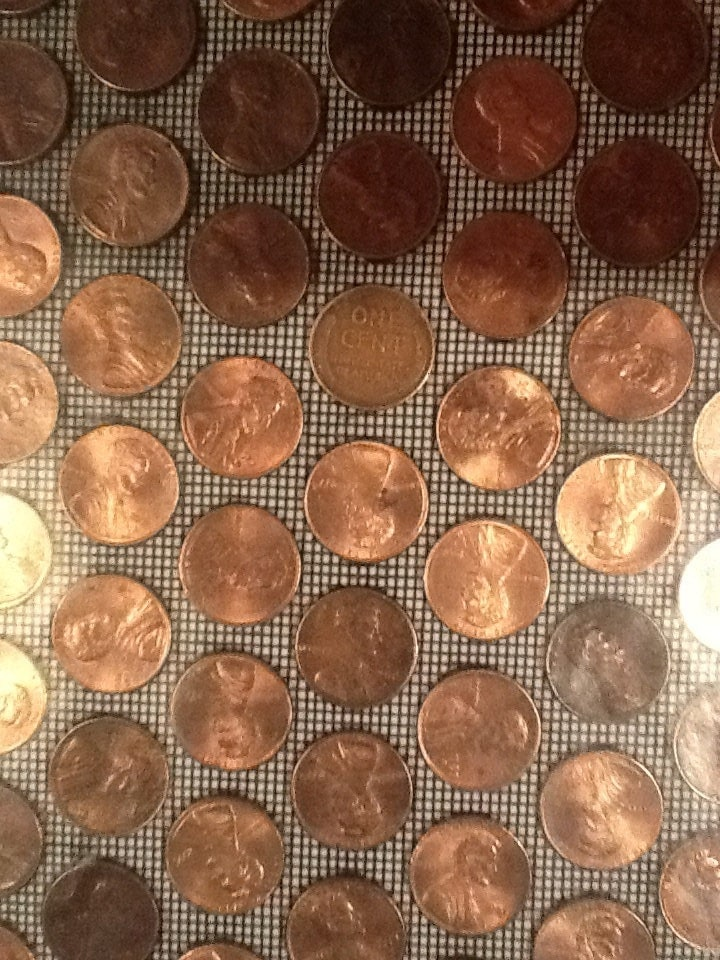 5 real us copper penny tiles from kvs mint coin tile for Copper tile pennies