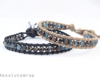 Blue black crystal wrap bracelet on soft polyester cord - your choice of cord color, single wrap bracelet