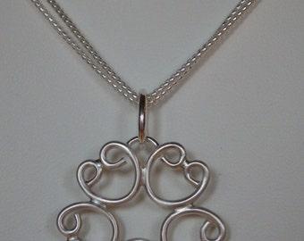 P126  Fine Silver Circle of Hearts