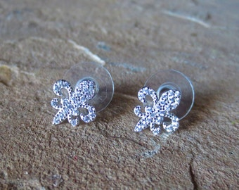 Fleur De Lis Post Earrings, Rhodium Dipped Cubic Zirconia, French Jewelry, Fleur de Lys