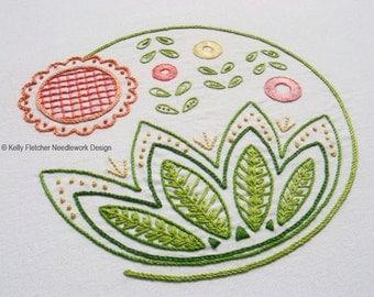 Sweetsong Modern Jacobean crewel hand embroidery pattern - modern embroidery PDF pattern, digital download