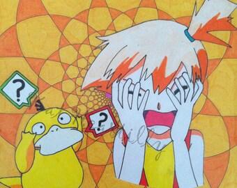 Psyduck & Misty Pokemon Fan Art - Original