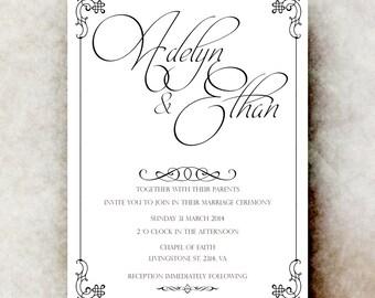 Black White Wedding Invitation, simple wedding, vintage wedding, elegant wedding, calligraphy invitation,  printable or printed.