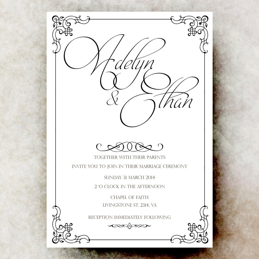 Black White Wedding Invitation Simple Wedding Vintage