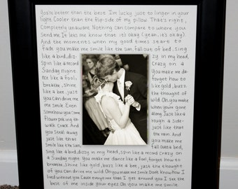 First Dance Lyrics Picture Frame Customized with Your Song Large