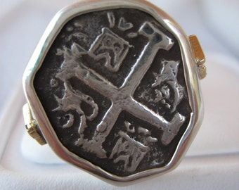 Atocha Coin Octagon 18K Solid Gold Sterling Silver Ring