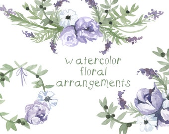 Watercolor Purple Flower Clipart flowers clip art digital clipart flower Floral Illustration Instant Download commercial use