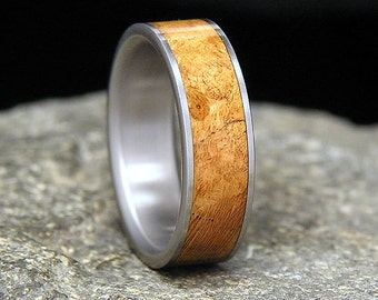 Black Cherry Burl Titanium Wood Wedding Band