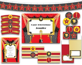 Hollywood Broadway Movie Star PDF JPG Party Pack - Instant Download Printable Digital File