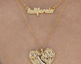 Gold California State Outline Heart Cali Love Pendant Necklace Set - Locally Made in California by California Limited