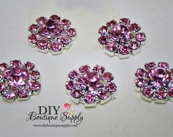 Tiny PINK Rhinestone buttons Crystal buttons Embellishment Flatback Baby Headbands Bow flower centers invitations 10 pcs 12mm 640a033