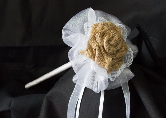 Flower girl wand flower girl bouquet with hessian flower for How to make hessian flowers