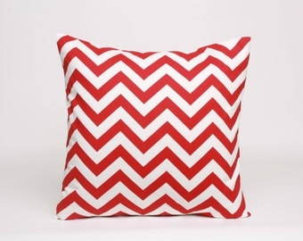 Red and White Chevron Pillow Cover, Red Cushion Cover, 20 x 20 inch Pillow Cover in Red, Chevron Pillow Cover, Christmas Throw Pillow
