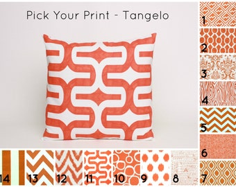 "Orange Pillow Cover PICK YOUR PRINT (1) Orange Cushion Cover in Orange and White Pillow Sham Orange Pillow Sham 16"", 18"", 20"" or 22"" Tangelo"