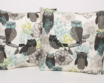 Set of 2 Floral and Owls Pillow Cover Black Blue Green on off white, 16 18 or 20 inch available, Premier Prints Cotton Home Decor Fabric
