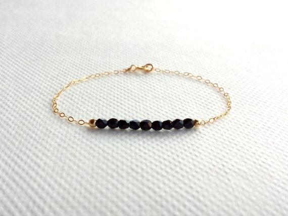 Bracelet Plaqué Or et Perles Noires