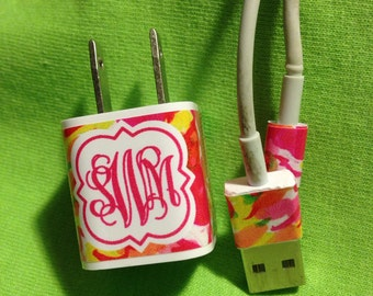 Iphone Charger Wrap, Monogram Iphone charger decal
