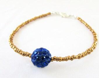 CLEARANCE Gold and blue stacking bracelet, seed bead bracelet, glittery shamballa beaded bracelet, handmade in the UK