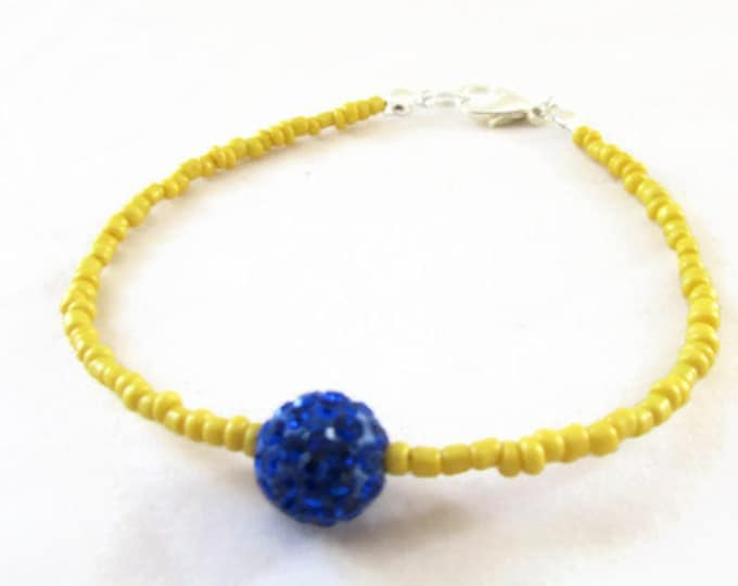CLEARANCE Yellow and blue stacking bracelet, yellow seed beads, simple bracelet, stocking stuffer, gift for teen, handmade in the UK