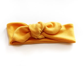 Baby/toddler knotted fall headband - Mustard
