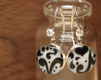 Starbucks Black and white heart earrings with sterling silver, resin and cubic zirconia. Made from recycled, upcycled  gift cards.